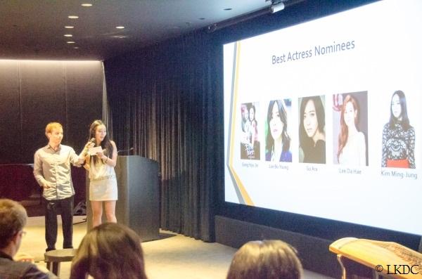 Actress Kunjue Li announcing winner of Best Actress category
